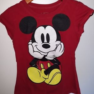 Women's Top Disney Mickey Mouse Red T-Shirt Size S